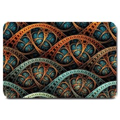 Fractal Art Pattern Flower Art Background Clored Large Doormat  by BangZart