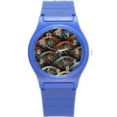 Fractal Art Pattern Flower Art Background Clored Round Plastic Sport Watch (s) by BangZart