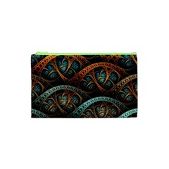 Fractal Art Pattern Flower Art Background Clored Cosmetic Bag (xs)