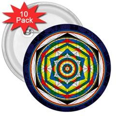 Flower Of Life Universal Mandala 3  Buttons (10 Pack)  by BangZart