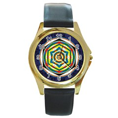 Flower Of Life Universal Mandala Round Gold Metal Watch