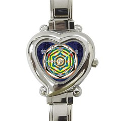 Flower Of Life Universal Mandala Heart Italian Charm Watch by BangZart