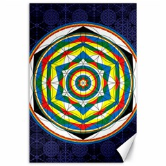 Flower Of Life Universal Mandala Canvas 24  X 36  by BangZart