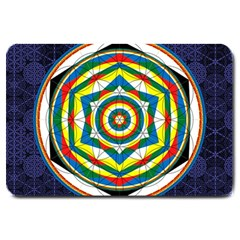 Flower Of Life Universal Mandala Large Doormat  by BangZart