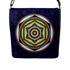 Flower Of Life Universal Mandala Flap Messenger Bag (l)
