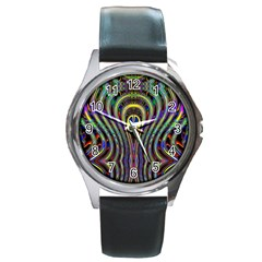 Curves Color Abstract Round Metal Watch