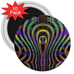 Curves Color Abstract 3  Magnets (10 Pack)