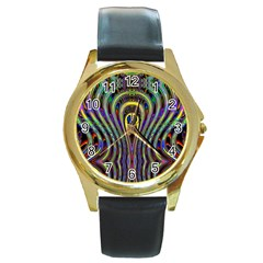 Curves Color Abstract Round Gold Metal Watch