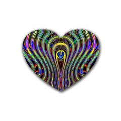 Curves Color Abstract Rubber Coaster (heart)  by BangZart
