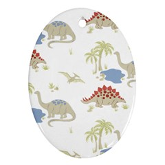 Dinosaur Art Pattern Ornament (oval) by BangZart