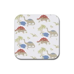 Dinosaur Art Pattern Rubber Square Coaster (4 Pack)  by BangZart