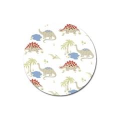 Dinosaur Art Pattern Magnet 3  (round)