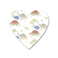 Dinosaur Art Pattern Heart Magnet by BangZart