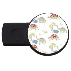 Dinosaur Art Pattern Usb Flash Drive Round (4 Gb) by BangZart