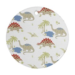 Dinosaur Art Pattern Round Ornament (two Sides) by BangZart