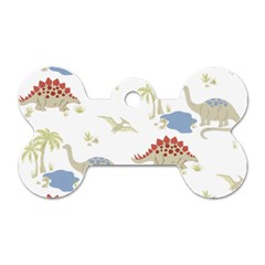 Dinosaur Art Pattern Dog Tag Bone (one Side)