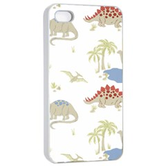 Dinosaur Art Pattern Apple Iphone 4/4s Seamless Case (white) by BangZart