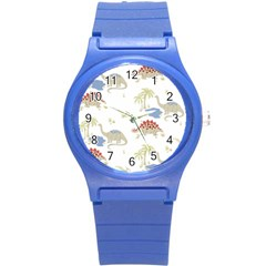 Dinosaur Art Pattern Round Plastic Sport Watch (s) by BangZart