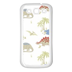 Dinosaur Art Pattern Samsung Galaxy S3 Back Case (white)