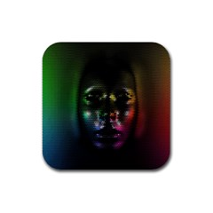Digital Art Psychedelic Face Skull Color Rubber Square Coaster (4 Pack)  by BangZart