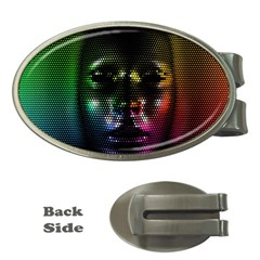 Digital Art Psychedelic Face Skull Color Money Clips (oval)
