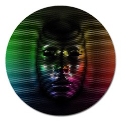 Digital Art Psychedelic Face Skull Color Magnet 5  (round) by BangZart