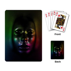 Digital Art Psychedelic Face Skull Color Playing Card