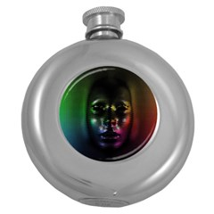 Digital Art Psychedelic Face Skull Color Round Hip Flask (5 Oz)
