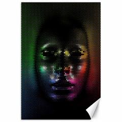 Digital Art Psychedelic Face Skull Color Canvas 20  X 30