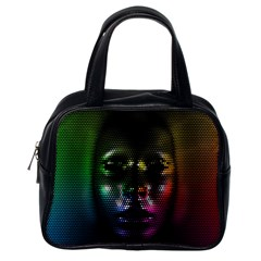 Digital Art Psychedelic Face Skull Color Classic Handbags (one Side) by BangZart