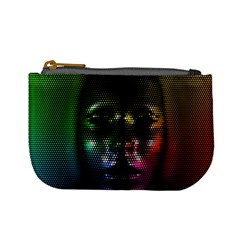 Digital Art Psychedelic Face Skull Color Mini Coin Purses