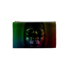 Digital Art Psychedelic Face Skull Color Cosmetic Bag (small)