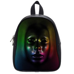 Digital Art Psychedelic Face Skull Color School Bags (small)  by BangZart