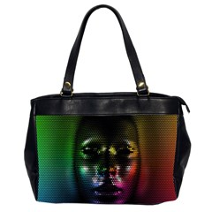 Digital Art Psychedelic Face Skull Color Office Handbags (2 Sides)  by BangZart