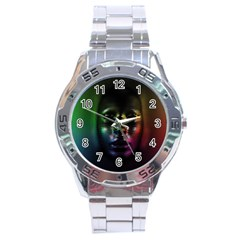 Digital Art Psychedelic Face Skull Color Stainless Steel Analogue Watch by BangZart