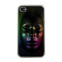 Digital Art Psychedelic Face Skull Color Apple Iphone 4 Case (clear)