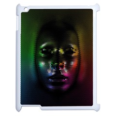 Digital Art Psychedelic Face Skull Color Apple Ipad 2 Case (white) by BangZart
