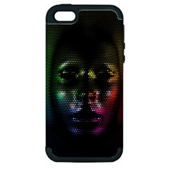 Digital Art Psychedelic Face Skull Color Apple Iphone 5 Hardshell Case (pc+silicone) by BangZart
