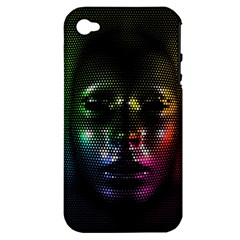 Digital Art Psychedelic Face Skull Color Apple Iphone 4/4s Hardshell Case (pc+silicone)