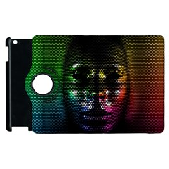 Digital Art Psychedelic Face Skull Color Apple Ipad 3/4 Flip 360 Case by BangZart