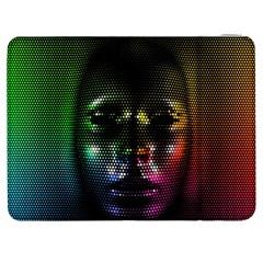 Digital Art Psychedelic Face Skull Color Samsung Galaxy Tab 7  P1000 Flip Case