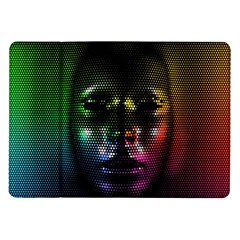 Digital Art Psychedelic Face Skull Color Samsung Galaxy Tab 10 1  P7500 Flip Case