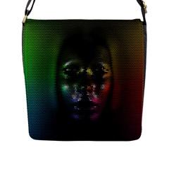 Digital Art Psychedelic Face Skull Color Flap Messenger Bag (l)