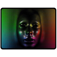 Digital Art Psychedelic Face Skull Color Double Sided Fleece Blanket (large)  by BangZart