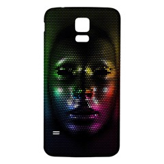 Digital Art Psychedelic Face Skull Color Samsung Galaxy S5 Back Case (white)