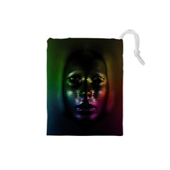Digital Art Psychedelic Face Skull Color Drawstring Pouches (small)