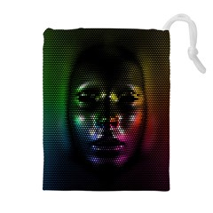 Digital Art Psychedelic Face Skull Color Drawstring Pouches (extra Large)