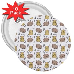 Cute Hamster Pattern 3  Buttons (10 Pack)  by BangZart