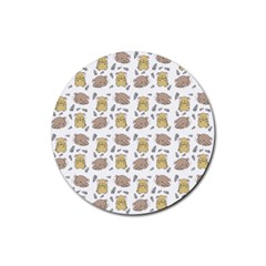 Cute Hamster Pattern Rubber Coaster (round)