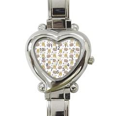 Cute Hamster Pattern Heart Italian Charm Watch